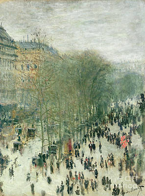 Crowd Scene Painting - Boulevard Des Capucines by Claude Monet