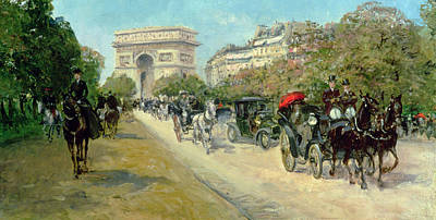 Carriage Driving Painting - Boulevard In Paris by Georges Stein
