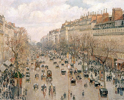 Coach Lamps Painting - Boulevard Montmartre Afternoon Sun by Camille Pissarro