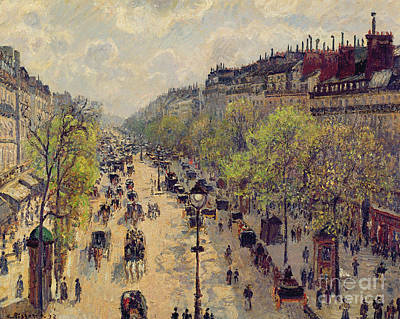 Horse And Carriage Painting - Boulevard Montmartre by Camille Pissarro