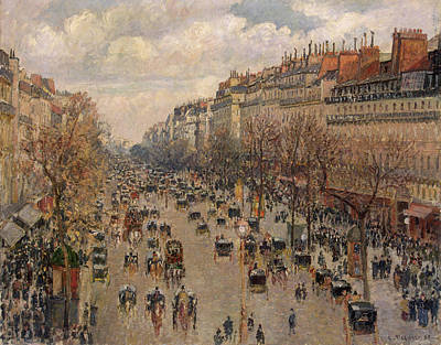 Streetscape Painting - Boulevard Montmartre In Paris by Camille Pissarro