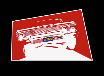 Painting - Bounce. '63 Impala Lowrider. by MOTORVATE STUDIO Colin Tresadern