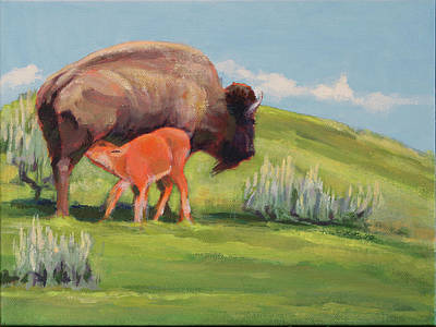 Wall Art - Painting - Bouncing Baby Bison by Pam Little
