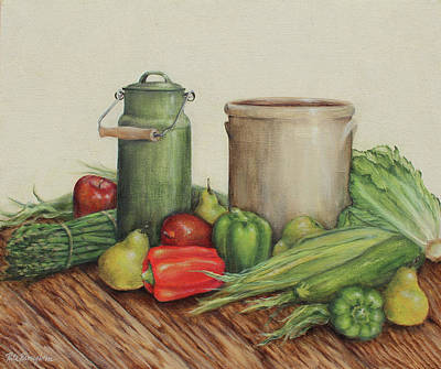 Stoneware Painting - Bountiful Blessings by Rita   Broughton