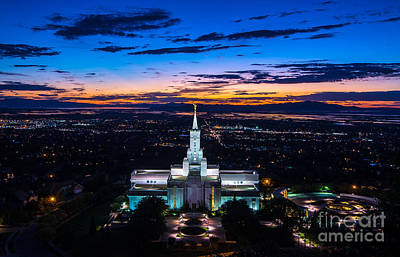 Bountiful Lds Mormon Temple Sunset 2 Art Print by Gary Whitton
