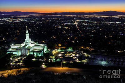 Bountiful Lds Mormon Temple Sunset Art Print by Gary Whitton