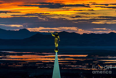 Bountiful Sunset - Moroni Statue - Utah Art Print by Gary Whitton