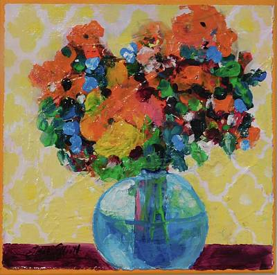 Painting - Bouquet-a-day #7 Original Acrylic Painting Free Shipping 59.00 By Elaine Elliott by Elaine Elliott