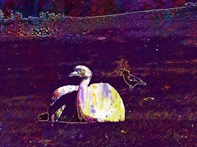 Emu Digital Art - Bouquet Emu Raven Crow  by PixBreak Art