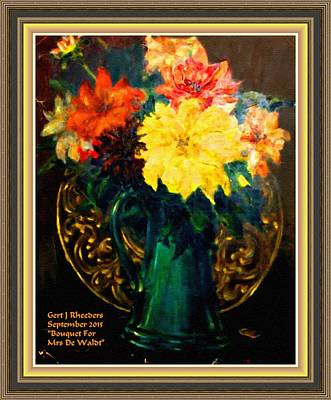 Amy Weiss - Bouquet For Mrs De Waldt  H A  With Decorative Ornate Printed Frame. by Gert J Rheeders