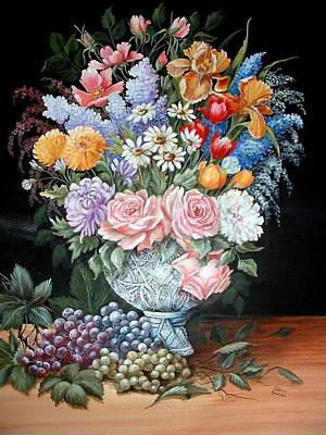 Bouquet In A Crystal Vase Art Print