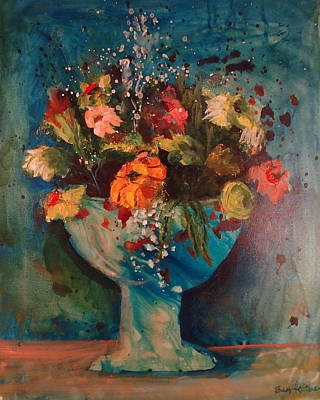 Grape Leaf Mixed Media - Bouquet In Bowl by Buff Holtman