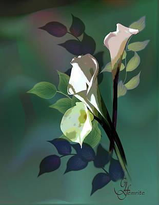 Floral Digital Art Digital Art Painting - Bouquet In White by Regina Femrite