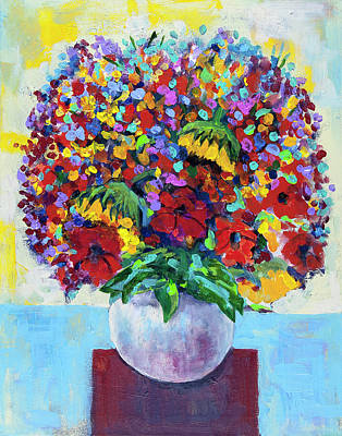 Painting - Bouquet In White Vase by Maxim Komissarchik
