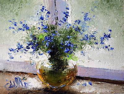 Painting - Bouquet Of Blue Wild Flowers by Igor Medvedev