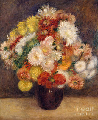 Pink And Yellow Painting - Bouquet Of Chrysanthemums, 1881 by Pierre Auguste Renoir
