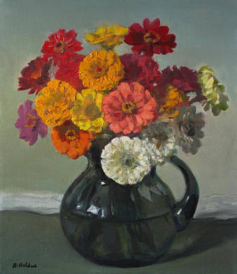Painting - Bouquet Of Colorful Zinnias by Robert Holden