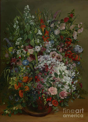 Boucher Painting - Bouquet Of Flowers In A Vase By Gustave Courbet by Esoterica Art Agency