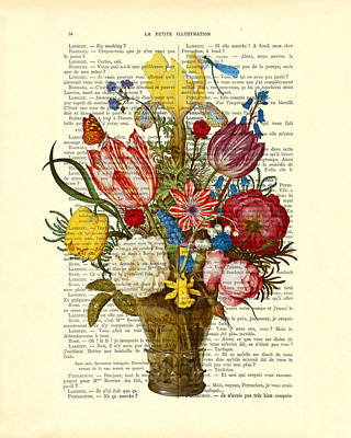 Antique Roses Vase Wall Art - Digital Art - Bouquet Of Flowers On Dictionary Paper by Madame Memento