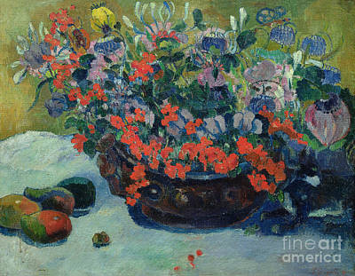 Basin Painting - Bouquet Of Flowers by Paul Gauguin