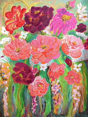 Painting - Bouquet Of Peach And Burgundy Roses by Haleh Mahbod