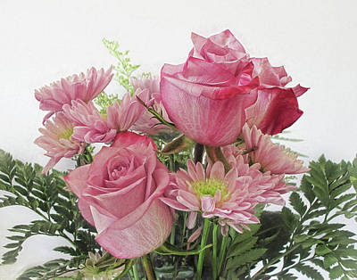 Photograph - Bouquet Of Pink Roses And Mums by David and Carol Kelly