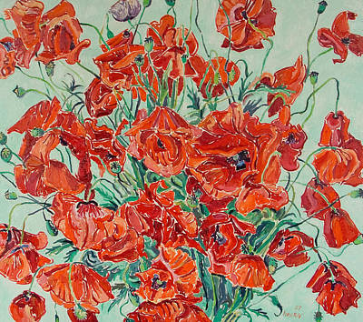 Bouquet Of Red Poppies With Soft-blue Background Art Print by Vitali Komarov