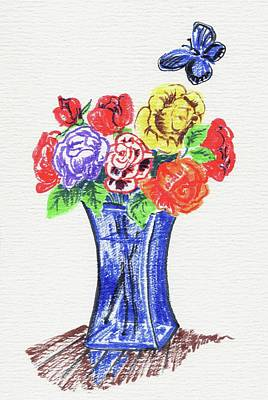 Painting - Bouquet Of Roses In A Blue Vase by Masha Batkova