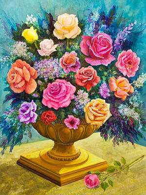 Bouquet Of Roses In A Footed Bowl Original by Lynne Albright