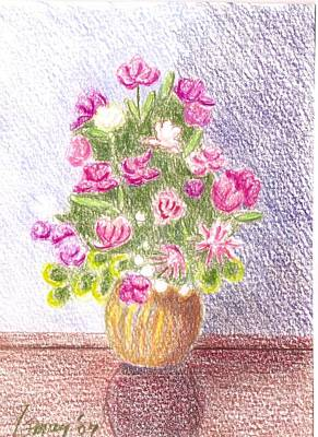 Drawing - Bouquet Of Silk Flowers by Rod Ismay