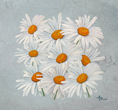 Daisy Mixed Media - Bouquet Of White Daisies by Angeles M Pomata