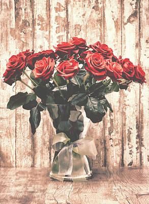 Bouquet Roses Art Print by Wim Lanclus