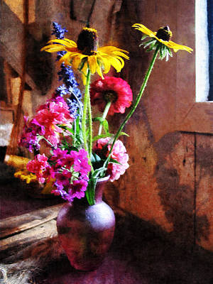 Room Interior Photograph - Bouquet With Black-eyed Susans And Phlox by Susan Savad