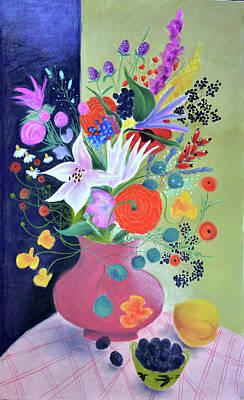Bouquet With Dahlias And Blackberries Art Print by Tatjana Krizmanic