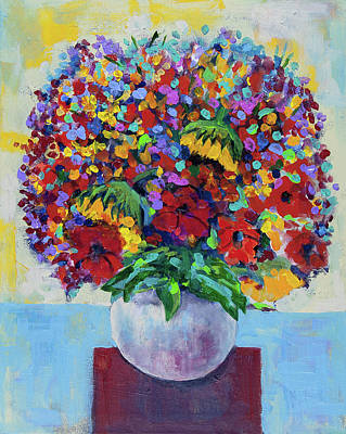 Painting - Bouquet With Two Sunflowers by Maxim Komissarchik