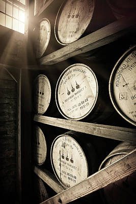 Sepia Photograph - Bourbon Barrels By Window Light by Karen Varnas