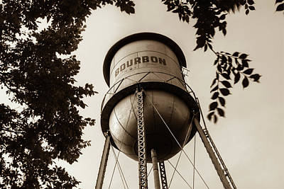 Photograph - Bourbon Missouri Usa Vintage Water Tower - Vintage Sepia by Gregory Ballos