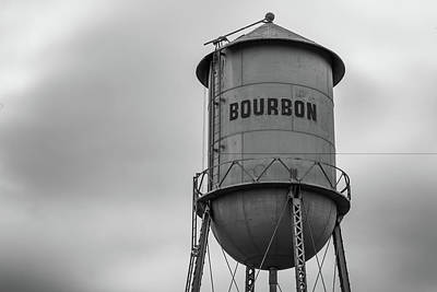 Photograph - Bourbon Missouri Whiskey Vintage Multi-column Water Tower - Black And White  by Gregory Ballos