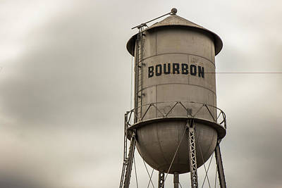 Photograph - Bourbon Missouri Whiskey Vintage Multi-column Water Tower - Sepia by Gregory Ballos