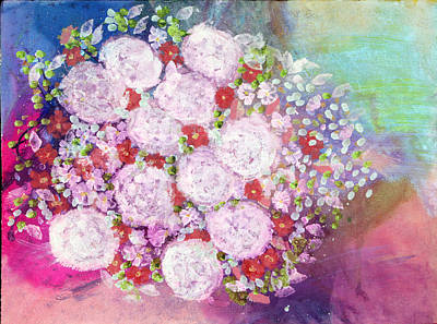 Tuscany Art Mixed Media - Bourbon Rose 'boule De Neige' by Don  Wright