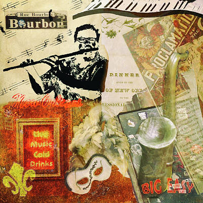 Bourbon Street Collage Art Print
