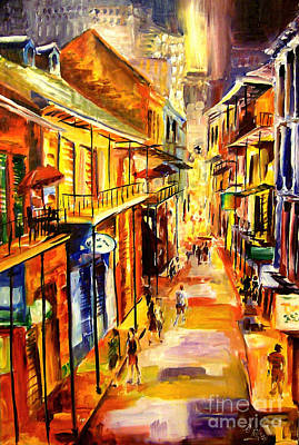 New Orleans Oil Painting - Bourbon Street Glitter by Diane Millsap