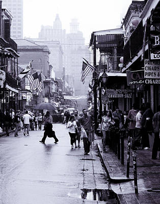 Art Print featuring the photograph Bourbon Street In The Rain by Ray Devlin