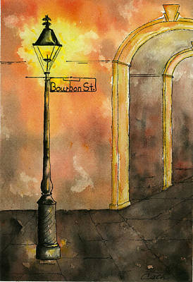 Painting - Bourbon Street Lamp Post With Arches by Catherine Wilson
