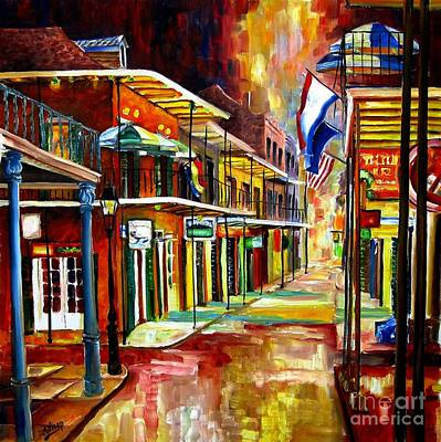 New Orleans French Quarter Wall Art - Painting - Bourbon Street Lights by Diane Millsap