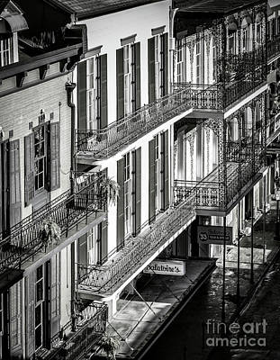 Photograph - Bourbon Street Morning-bw-nola by Kathleen K Parker