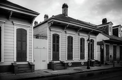 Shotgun Houses Wall Art - Photograph - Bourbon Street Shotguns In Black And White by Chrystal Mimbs