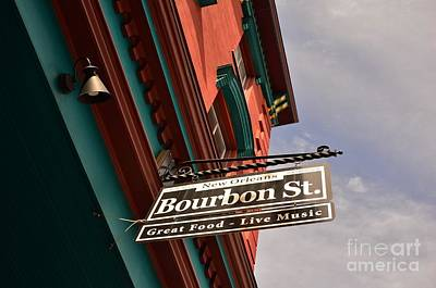 Photograph - Bourbon Street Sign by Bob Sample