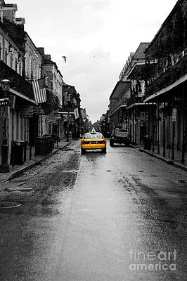 Bourbon Street Taxi French Quarter New Orleans Color Splash Black And White Watercolor Digital Art Art Print