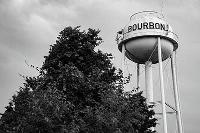 Photograph - Bourbon Tower And Tree - Black And White  by Gregory Ballos